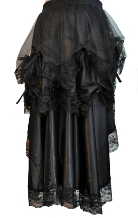 Black Steampunk Victorian Saloon Girl Burlesque Bustle Skirt