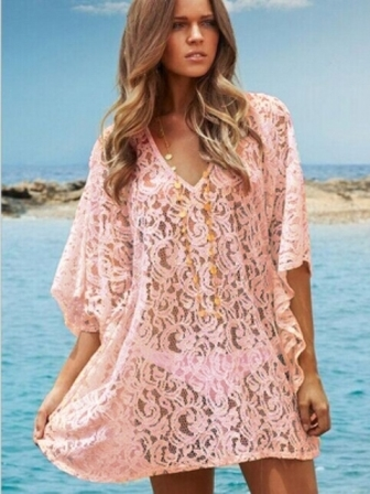 Pink V Neck Lace Batwing Top