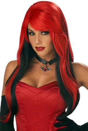 Long Wig Red over Black - Vampire, Gothic, Halloween