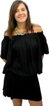 Black Off The Shoulder Wing Dress / Top