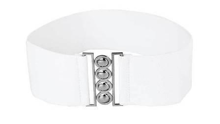 White Elastic Retro Vintage Belt With Metal Buckles