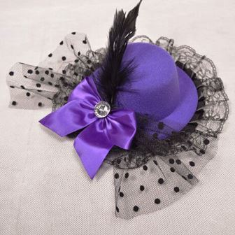 Purple Burlesque Mini Top With Bow Diamonte, Feather & Lace
